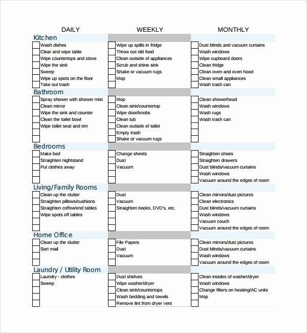 Cleaning Service Checklist Template Elegant Sample House Cleaning Checklist