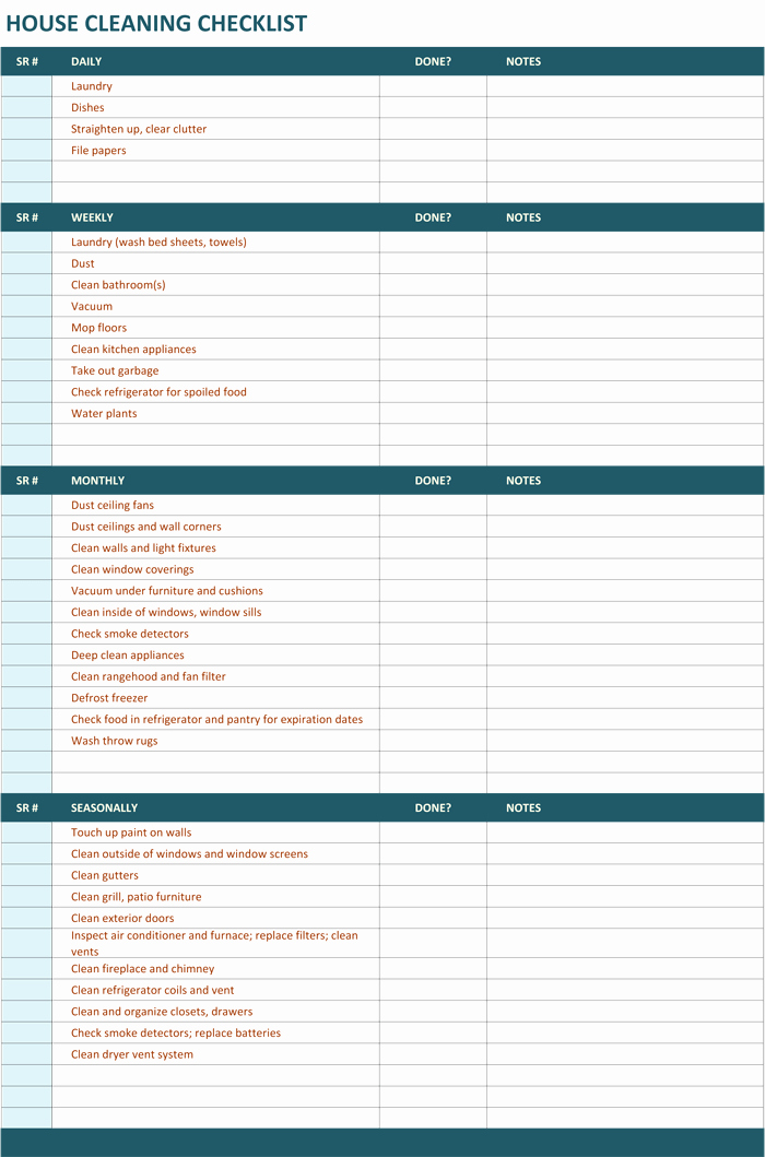 Cleaning Service Checklist Template Inspirational House Cleaning Checklist Template to Unify Perfect Cleaning