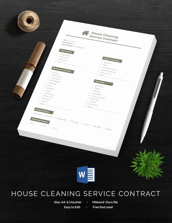 Cleaning Service Contract Template Elegant Cleaning Contract Template 27 Word Pdf Documents