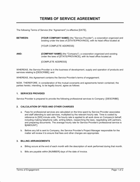 Cleaning Service Contract Template Elegant Terms Of Service Agreement Template & Sample form