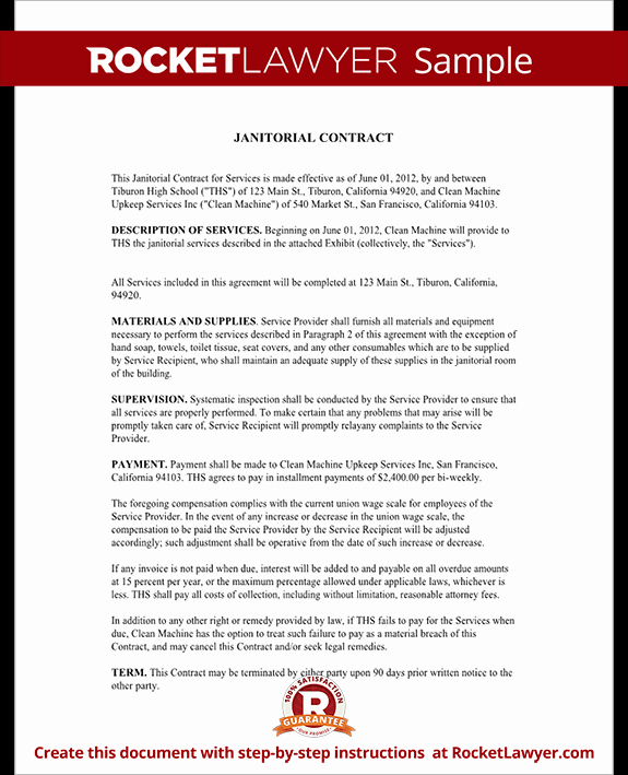 Cleaning Service Contract Template Unique Janitorial Services Contract Janitorial Contract with