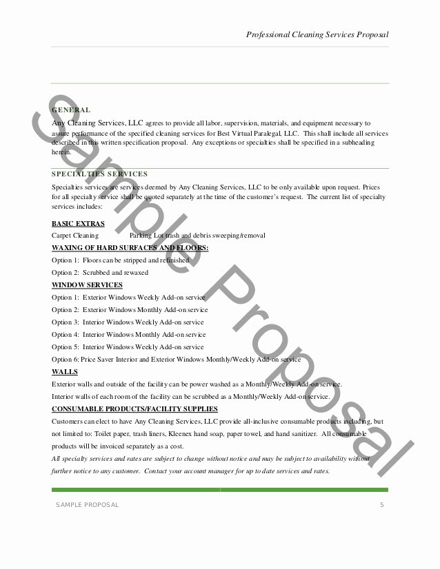 Cleaning Service Proposal Template New Janitorial Service Proposal Template