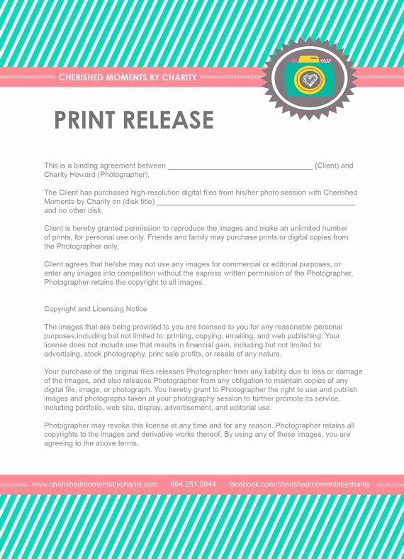 Client Print Release form Template Best Of 25 Best Graphy Contract Ideas On Pinterest