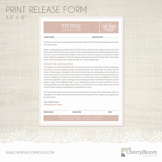 Client Print Release form Template Inspirational Print Release form Template for Graphers Grapher