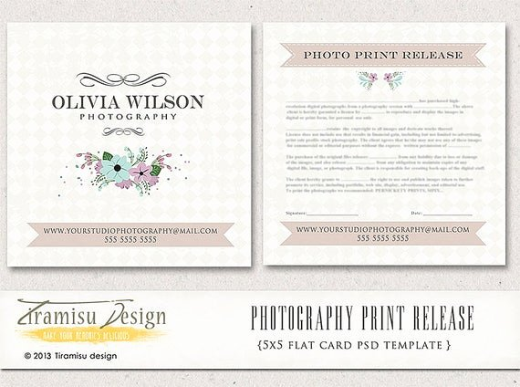 Client Print Release form Template Lovely Instant Download Graphy Print Release 5x5 by