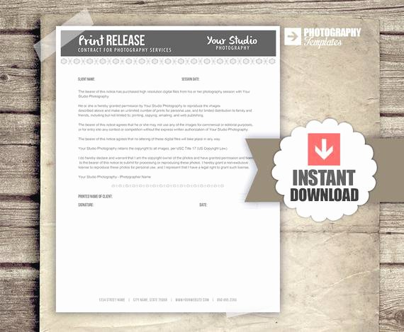 Client Print Release form Template Lovely Print Release form for Graphers by Studiotwentynine