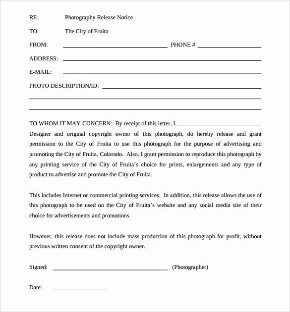 Client Print Release form Template Lovely Sample Print Release forms 7 Free Documents In Pdf