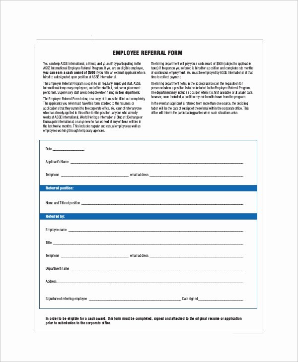 Client Referral form Template Beautiful Sample Referral form 10 Examples In Word Pdf