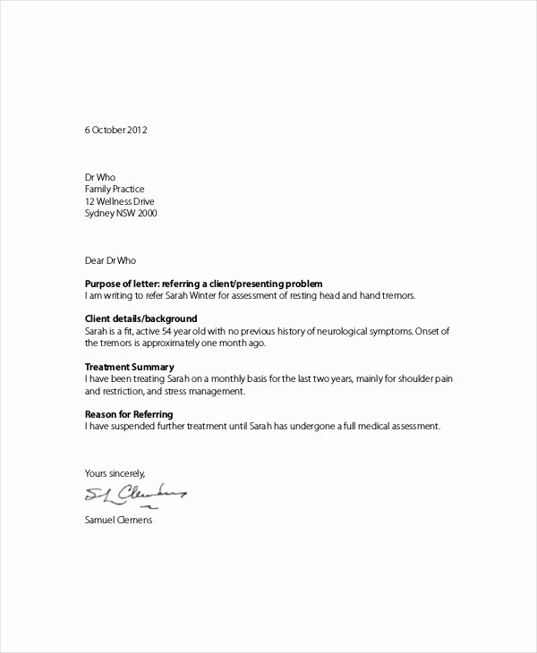 Client Referral form Template Best Of Example Referral Letter