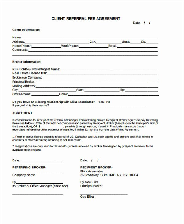 Client Referral form Template Elegant 34 Printable Agreement Templates Word Pdf Pages