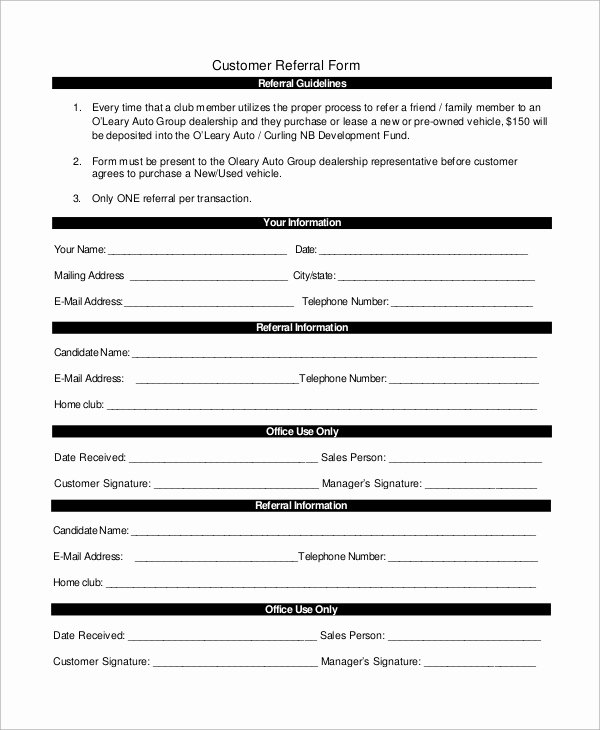 Client Referral form Template New Sample Referral form 10 Examples In Word Pdf