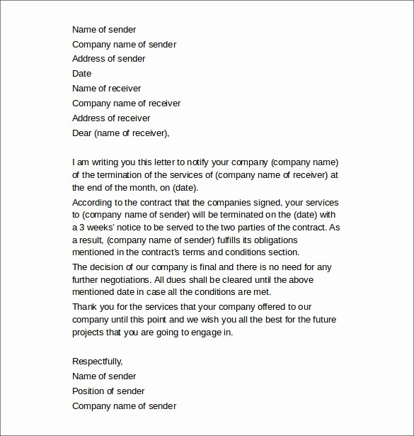 Client Termination Letter Template Best Of 11 Termination Of Services Letters Doc Apple Pages