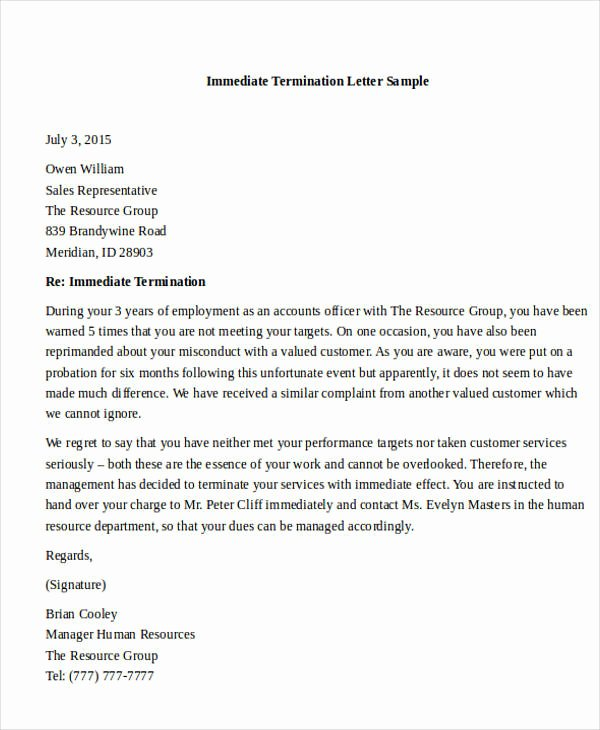 Client Termination Letter Template Elegant Termination Letter format