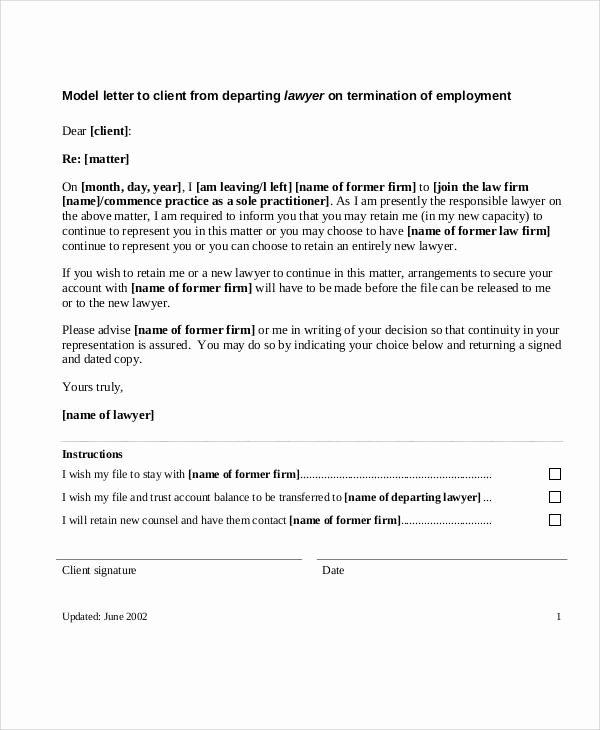 Client Termination Letter Template Fresh 37 Sample Termination Letters