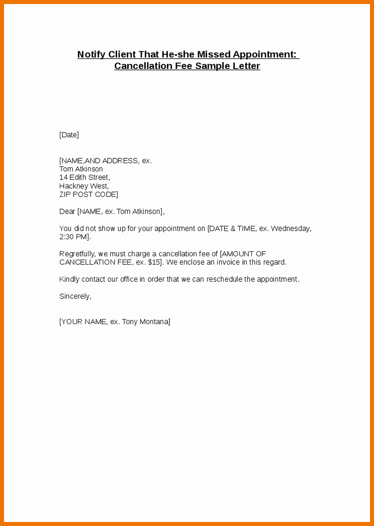Client Termination Letter Template Inspirational Cancellation Letter Policy Tify Client that She Missed Car