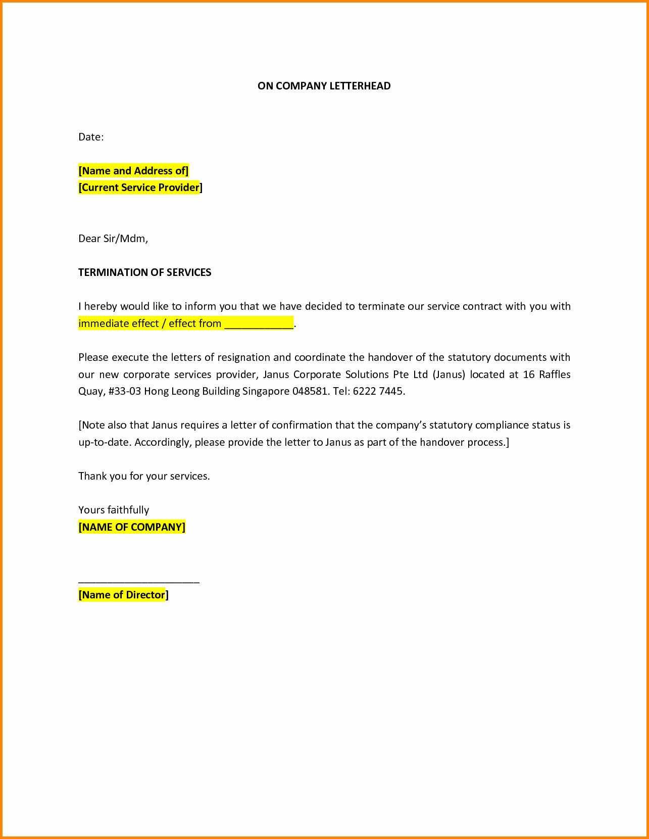 Client Termination Letter Template Lovely Letter to Terminate Services