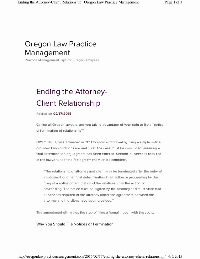 Client Termination Letter Template Luxury Ending the attorney Client Relationship