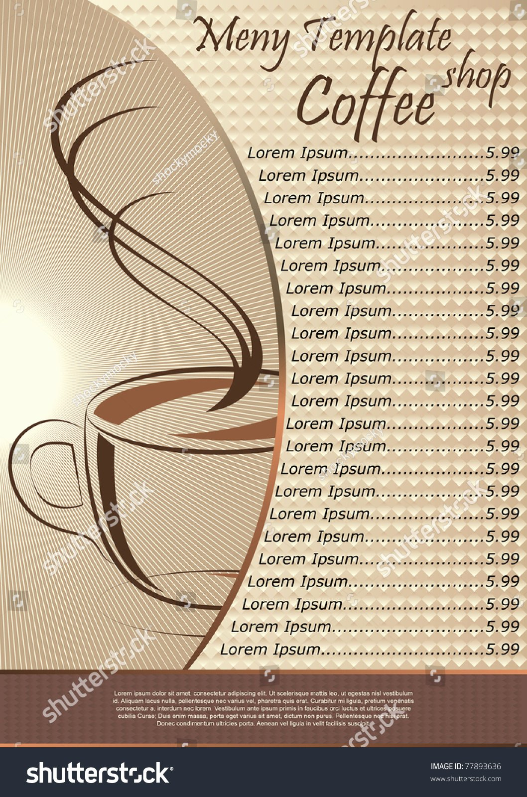 Coffee Shop Menu Template Beautiful Coffee Shop Menu Template Vector Illustration