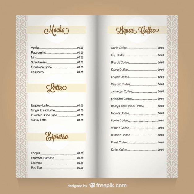 Coffee Shop Menu Template Elegant Coffee Menu Template Vector