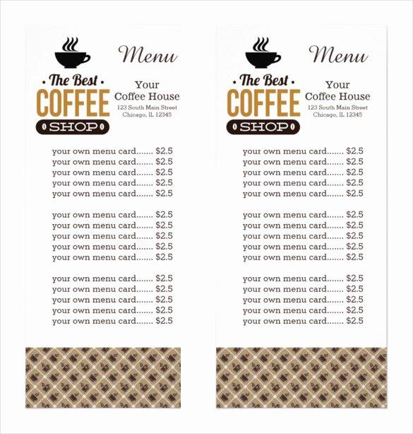 Coffee Shop Menu Template Fresh 20 Coffee Menu Templates – Free Sample Example format