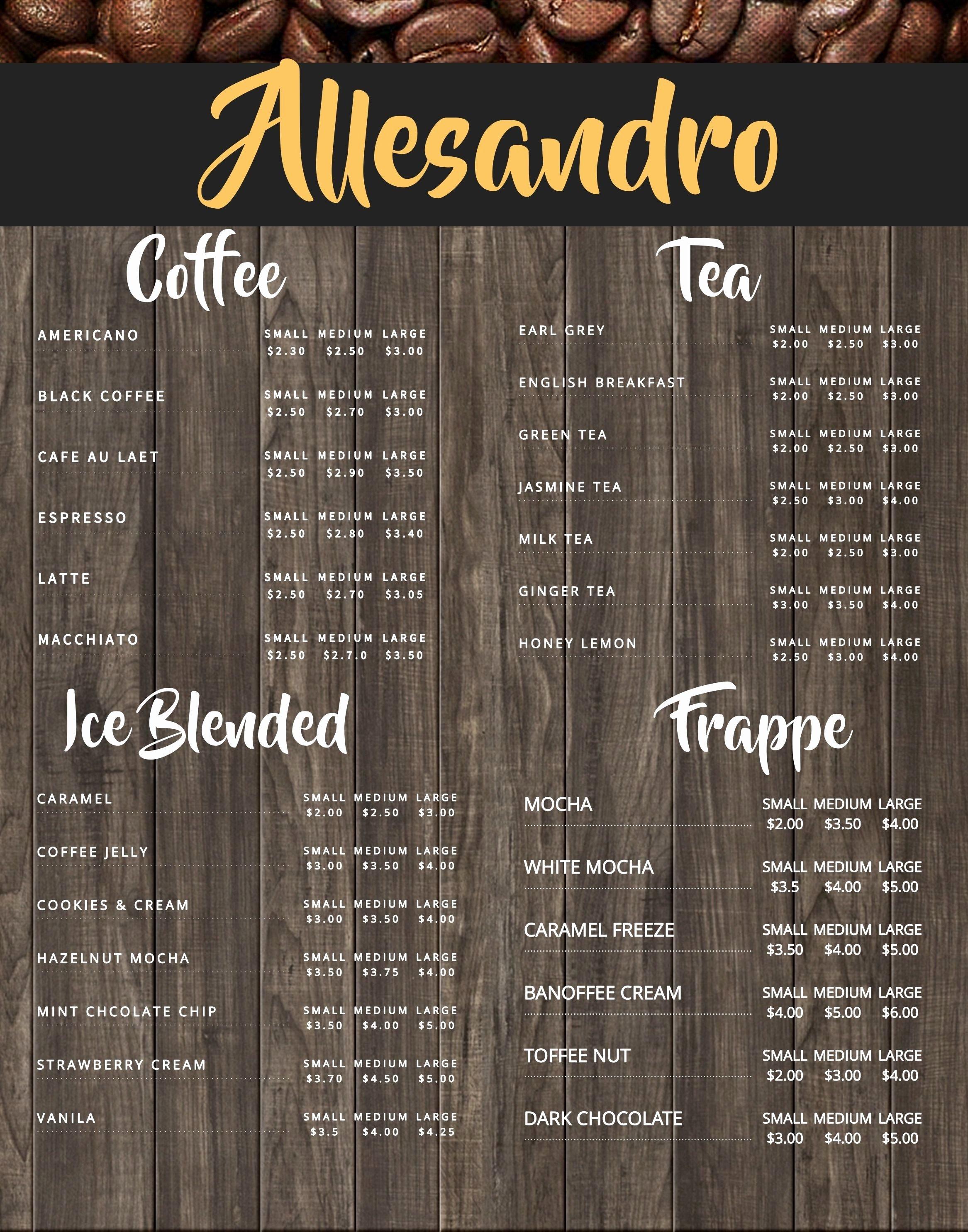 Coffee Shop Menu Template Inspirational Coffee Shop Menu Board Design Template to Customize
