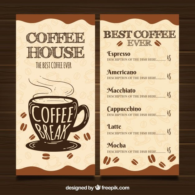 Coffee Shop Menu Template Inspirational Restaurante Menu Template with Coffee Shop Vector