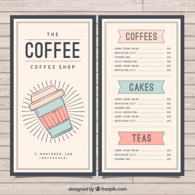Coffee Shop Menu Template Lovely Retro Cafe Menu Template Vector