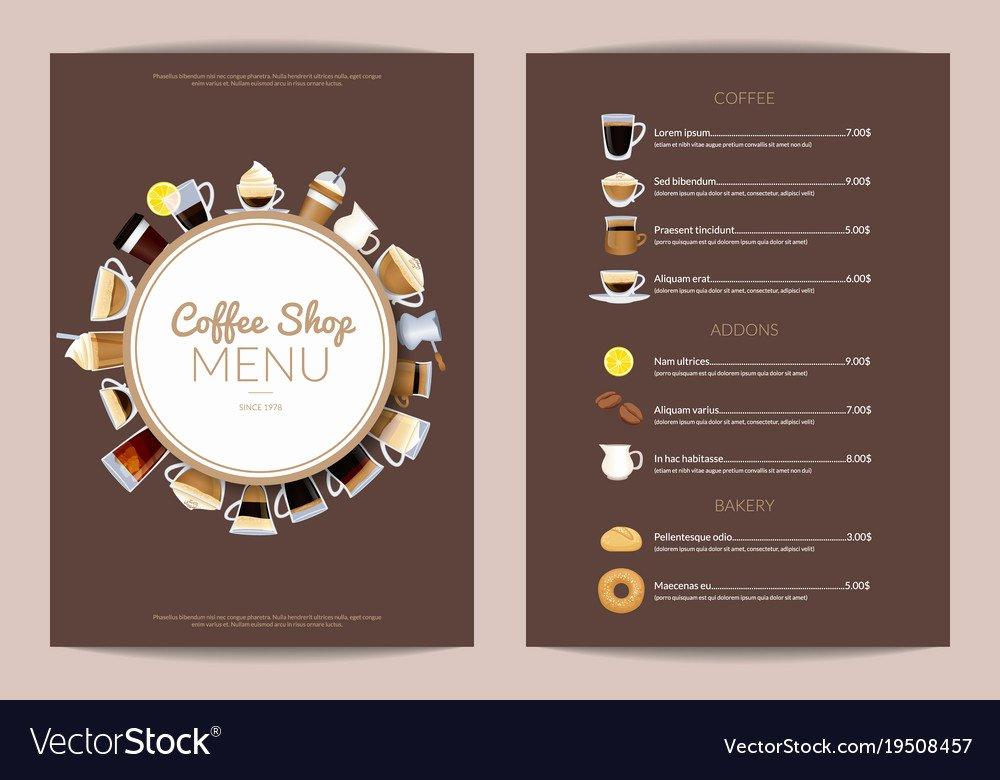 Coffee Shop Menu Template Luxury Coffee Shop Vertical Menu Template Royalty Free Vector Image