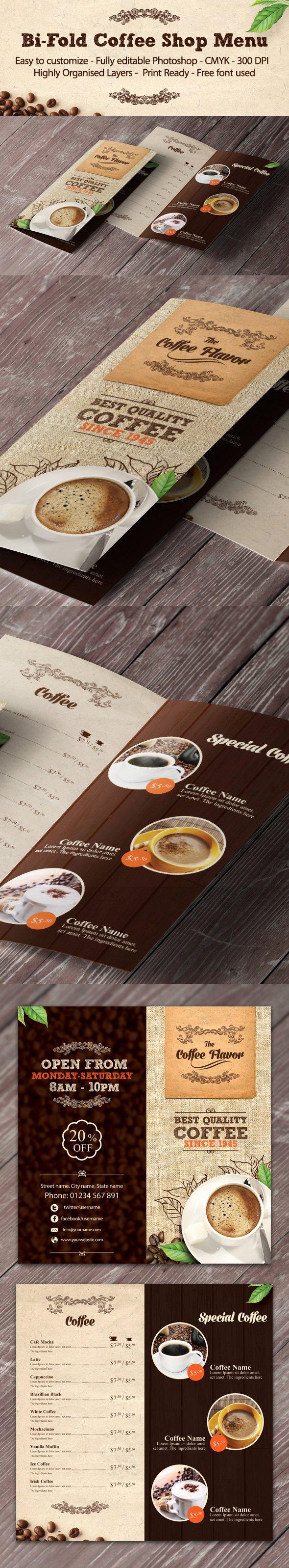 Coffee Shop Menu Template Unique Bi Fold Coffee Shop Menu Template On Behance