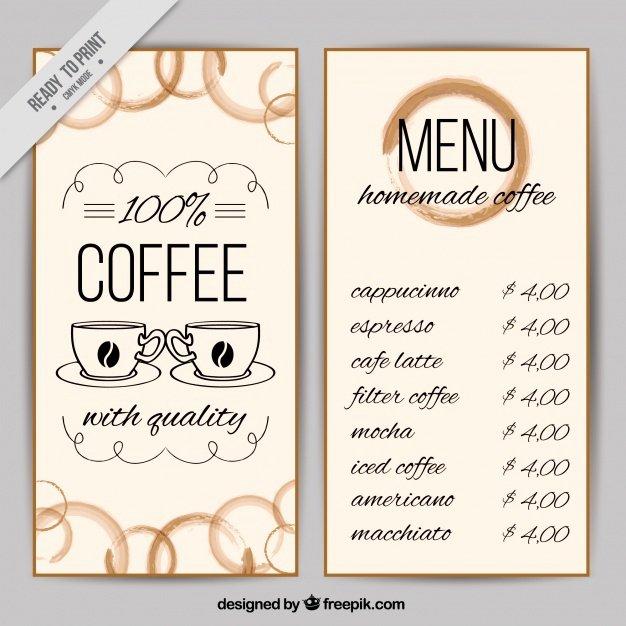 Coffee Shop Menu Template Unique Coffee Shop Menu Template Vector