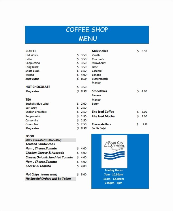 Coffee Shop Menu Template Unique Sample Coffee Menu 7 Documents In Pdf