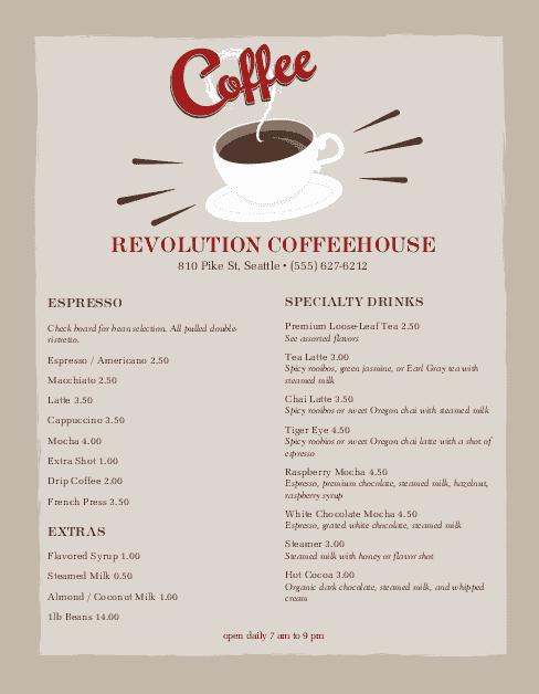 urban coffee menu