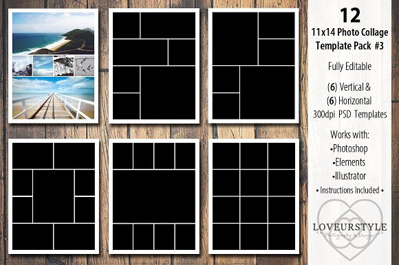 Collage Templates for Word Awesome 11x14 Collage Template Pack 3 Templates On