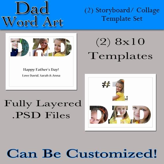 Collage Templates for Word Elegant Items Similar to Dad Word Art 2 8x10 Custom