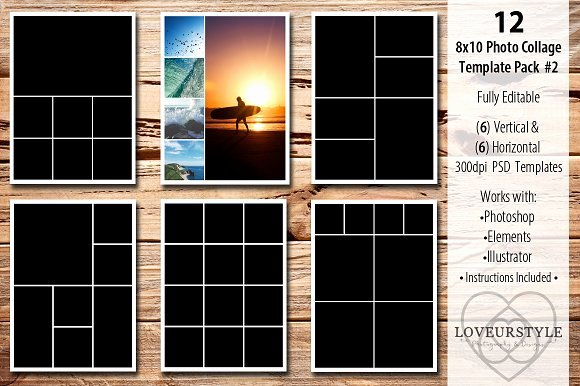 Collage Templates for Word Lovely 8x10 Collage Template Pack 2 Templates On Creative