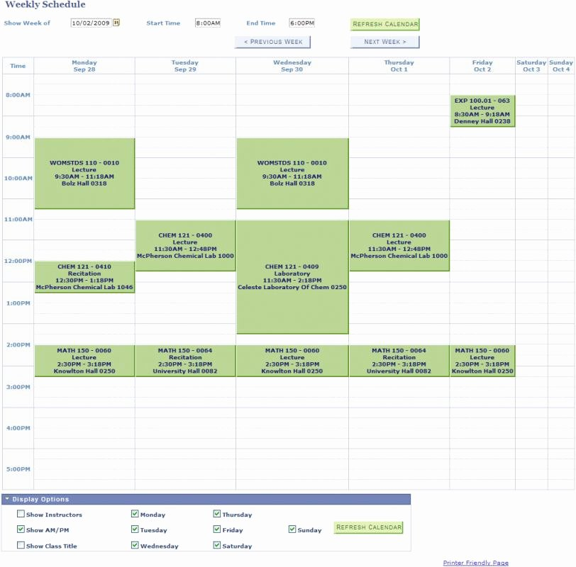 College Class Schedule Template Beautiful College Class Schedule Template