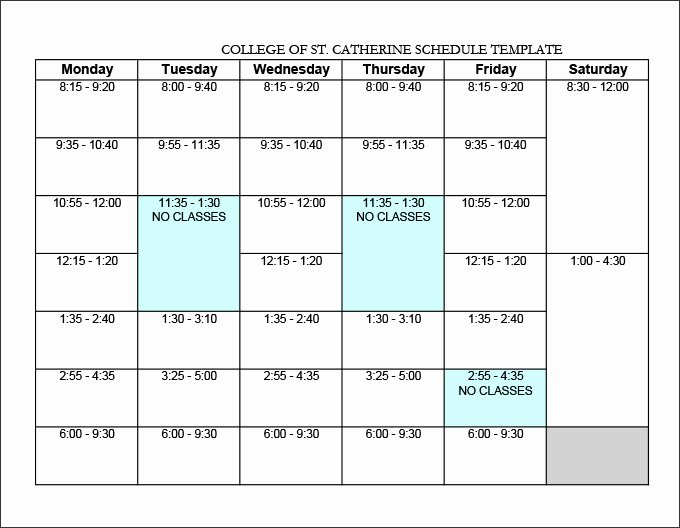College Class Schedule Template Beautiful College Schedule Template 12 Free Word Excel Pdf