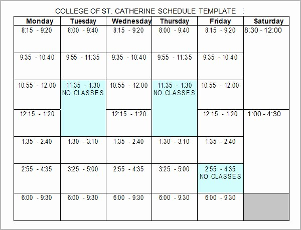College Class Schedule Template Beautiful Free 6 Sample College Schedule Templates In Google Docs