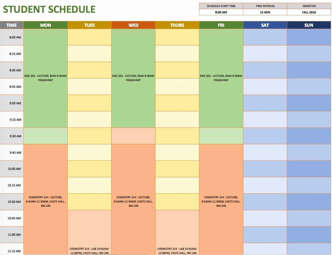 College Class Schedule Template Elegant Free Weekly Schedule Templates for Excel Smartsheet