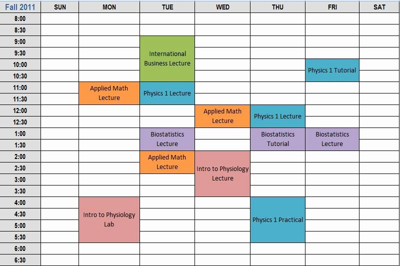 College Class Schedule Template Luxury College Schedule Planner