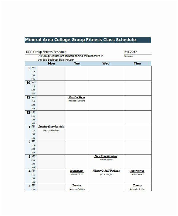 College Class Schedule Template Unique Excel Class Schedule Templates 8 Free Word Excel Pdf