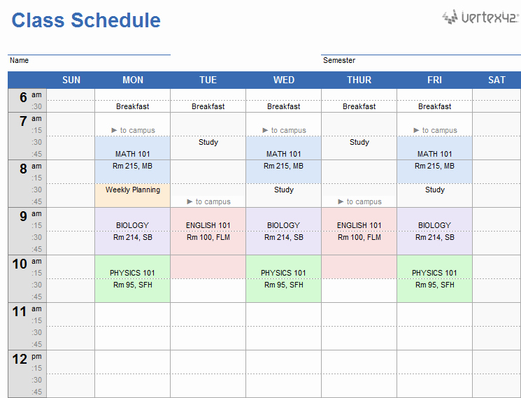 College Class Schedule Template Unique Weekly Class Schedule Template for Excel