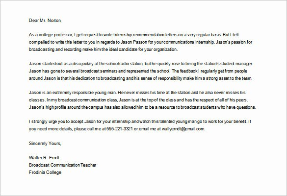College Letter Of Recommendation Template Best Of Sample College Re Mendation Letter for High School Student