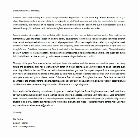 College Letter Of Recommendation Template Elegant Letter Re Mendation for College Admission 2018