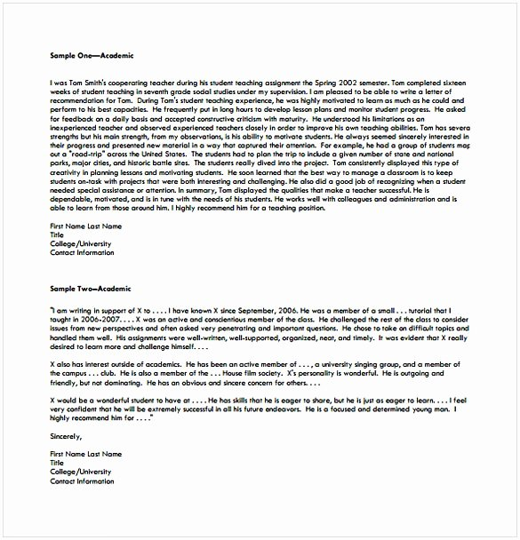 College Letter Of Recommendation Template Fresh College Re Mendation Letter Template