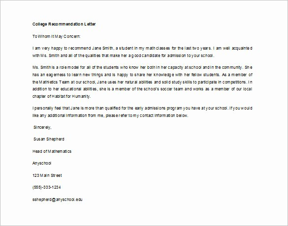 College Letter Of Recommendation Template Fresh Re Mendation Letter for Student From Teacher Sample