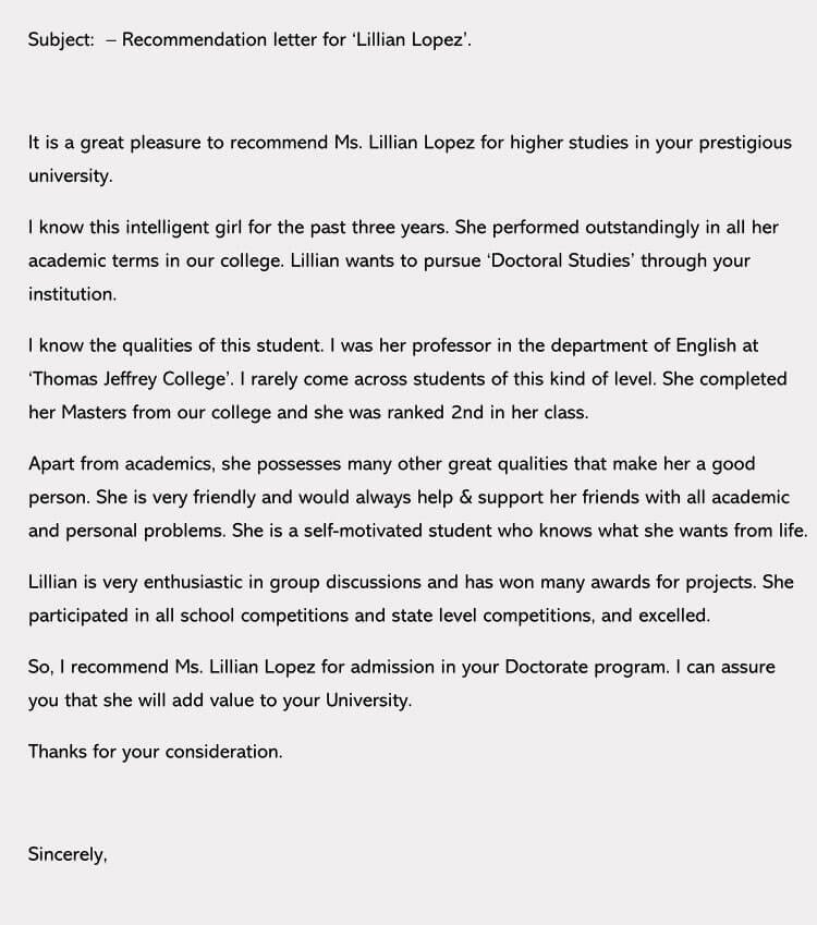 College Letter Of Recommendation Template Inspirational Write A Great College Re Mendation Letter 7 Samples