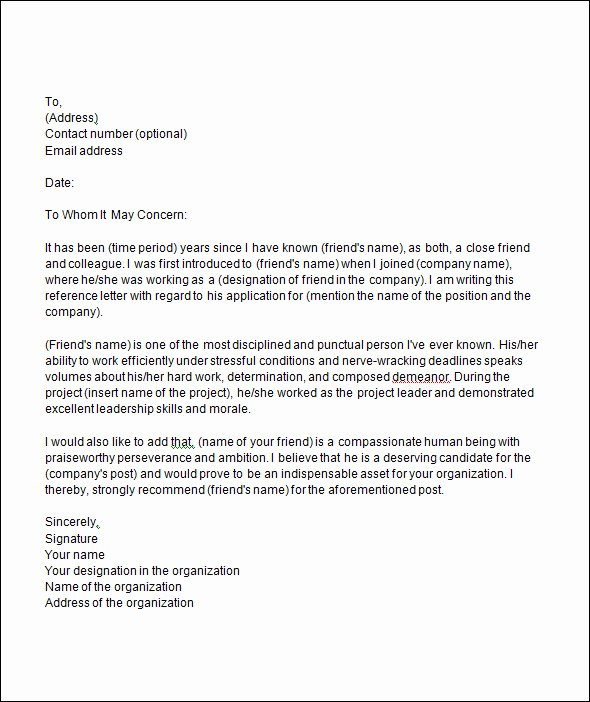 College Letter Of Recommendation Template Lovely College Letter Re Mendation Template