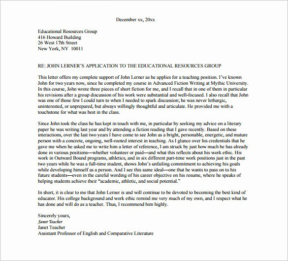 College Letter Of Recommendation Template Lovely Re Mendation Letter format College