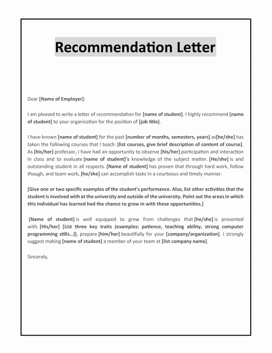 College Letter Of Recommendation Template New 43 Free Letter Of Re Mendation Templates & Samples